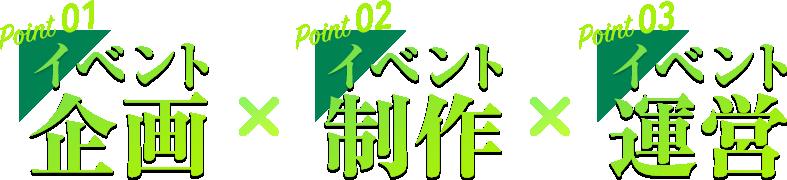 Point01 イベント 企画 Point02 イベント 制作 Point03 イベント 運営